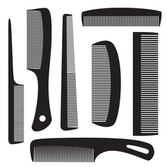 Set of combs for hair. Isolated objects. Vector Image.