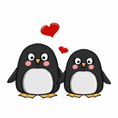 cute penguins family and heart