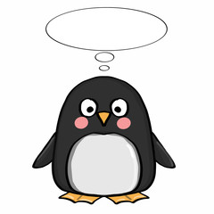 cute penguin  and thinking