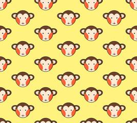 Monkey Seamless on Yellow Background. Vector Illustration