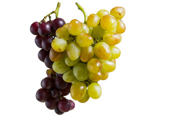 a bunch of yellow and blue grapes on white background