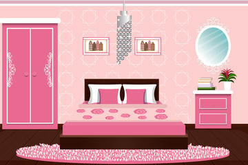 The interior of the bedroom. Beautiful bedroom in pink color. Furniture for the home. cartoon. Vector