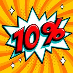 Orange sale web banner. Sale ten percent 10 off on a Comics pop-art style bang shape on orange twisted background. Big sale background. Pop art comic sale discount promotion banner. Seasonal discounts