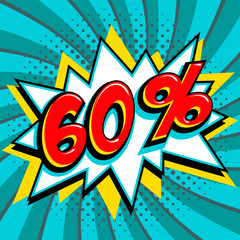 Blue sale web banner. Sale sixty percent 60 off on a Comics pop-art style bang shape on blue twisted background. Big sale background. Pop art comic sale discount promotion banner. Seasonal discounts