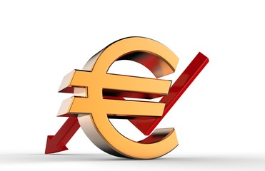Downward growth arrow with 3d euro symbol sign. Economic recession concept. 3d illustration.