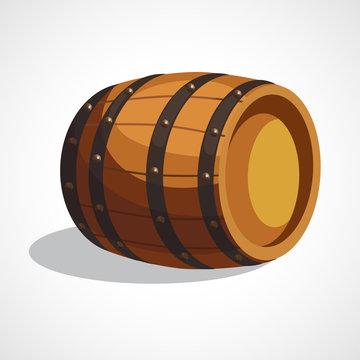 Cartoon wooden barrel
