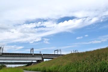 Marron chocolat 9月の荒川河川敷 荒川橋梁と戸田橋