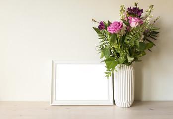Empty white frame mockup