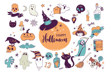 Halloween party, hand drawn modern cards, illustrations set