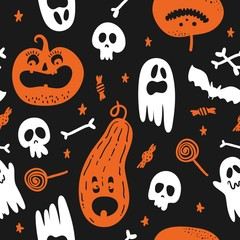 Foto op Canvas Aquarel Schedel Vector seamless pattern for Halloween. Pumpkin, ghost, bat, candy, and other items on Halloween theme.