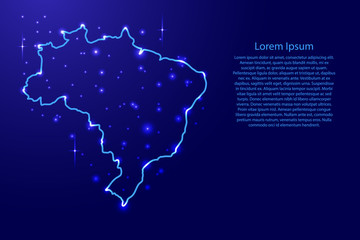 Map Brazil from the contours network blue, luminous space stars of vector illustration