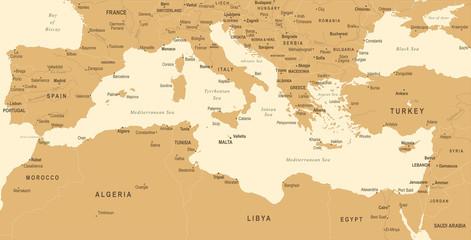 Mediterranean sea Map - Vintage Vector Illustration