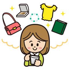スマートフォンを操作して買い物しようとする女性