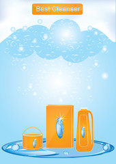 Banner - Cleaning products - set of detergents - blue background soap foam - art creative modern vector illustration