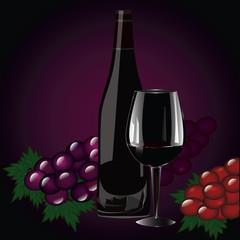 Wine bottle with cork, big glass, bunches of grapes - realistic - isolated on black and purple background - art creative vector illustration.