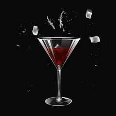 A glass of red wine, ice, splashes - on a black background - art creative modern vector illustration