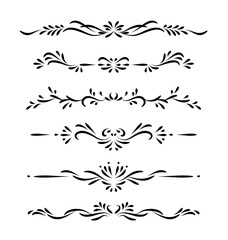 Hand drawn black vector ornamental decorative borders isolated on white background