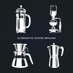 Vector alternative coffee brewing illustrations set. Hand sketched different coffee makers. Cafe,restaurant menu design.