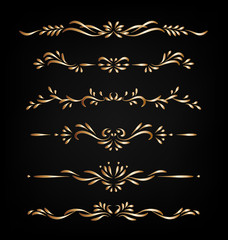 Gold vector ornamental decorative borders isolated on dark background