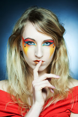 Creative makeup. Young woman