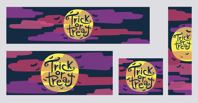 Halloween trick or treat web banners with moon and clouds vector illustrations. Collection of four different sizes banners: 970x250, 720x300, 300x250, 160x600