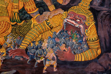 Colorful painting in Wat Phra Kaew Temple, Bangkok