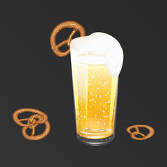 Realistic glass with yellow-golden beer, white foam, dew drops, pretzel - isolated on black background - art, creative, modern vector illustration,