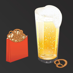 Realistic glass with yellow-golden beer, white foam, drops of dew, pretzel in a paper bag - isolated on black background - art, creative, modern vector illustration,