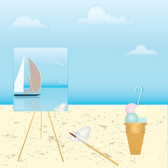Shore of the sea, easel with a picture of a sea landscape with a sailboat, on the sand tassel, shell, ice cream, art creative modern vector illustration