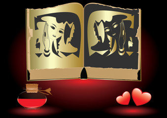Ancient book with black and gold illustration female image, face, mask, bottle with red liquid, heart, art creative vector. Black and white magic. Philosophy. Esoterics.