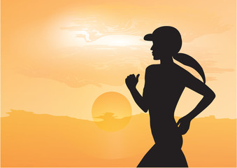 Female athlete jogging early in the morning, rising yellow sun - art, creative, modern vector illustration. Sports banner