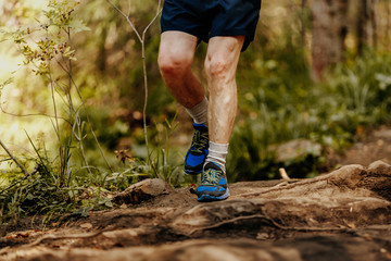 Wall Mural - elderly man feet runner running rocks in forest marathon