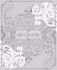 Luxury Baroque card background Vector. Rich imperial intricate elements. Victorian Royal style pattern