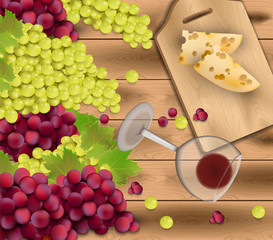 Red grapes on wood background. Wine glass and cheese. Season harvest Vector realistic illustration
