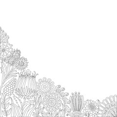 Black and white line floral corner pattern