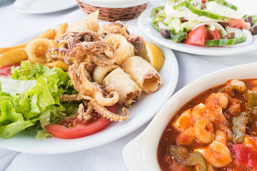 Traditional Greek Food Served At Outdoor Restaurant