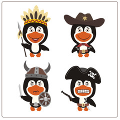 Set isolated penguin in cartoon style for design children holiday and birthday. Funny penguin in costume of viking, american indian, cowboy and pirate.
