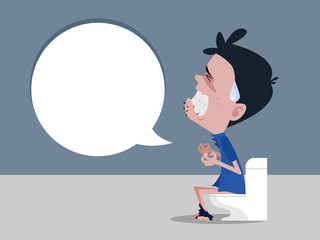 Men sitting on the toilet and Constipation are experiencing severe abdominal pain. vector cartoon.