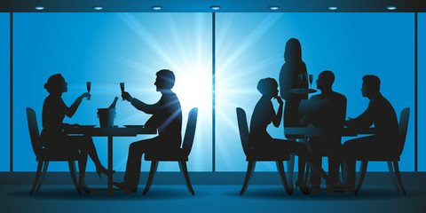 salle de restaurant -  silhouette - table -serveur - couple - amis