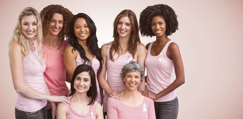 Composite image of smiling women in pink outfits posing for