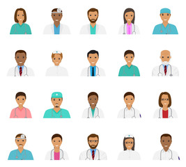 Doctors and nurses characters avatars set. Medical people icons of faces.
