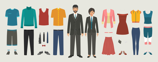Man and woman characters with business, casual, sport clothing set. Dressing people constructor kit.