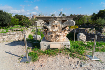 Fototapete - Remains of the Corinthian classic order column, The Ancient Agora of Classical Athens, Greece