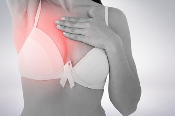 Composite image of woman in bra with breast cancer awareness