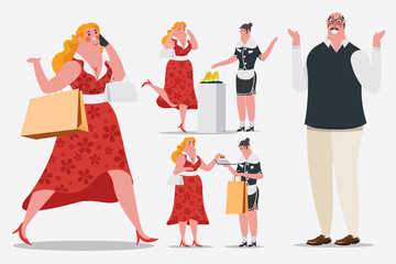 Cartoon character design illustration. Women walk and calling mobile phones Carrying shopping bags are walking into the shop. She uses a credit card.