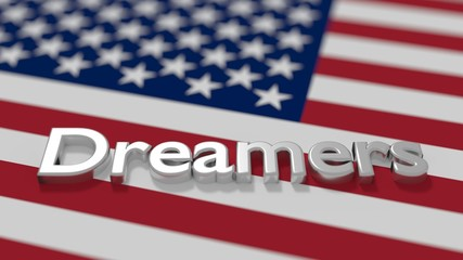 The word dreamers on an american flag daca immigration concept