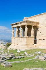 Fototapete - famous Erechtheion temple in Acropolis of Athens, Greece