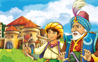cartoon fairy tale scene with some kind of travelers looking like magicians or merchants going to castle