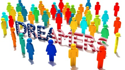 The word dreamers with an american flag texture surrounded by a group of differently colored people