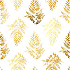 Seamless pattern with golden fern leaves